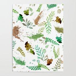 Green Leaves, Paint Splatter, Pattern Poster