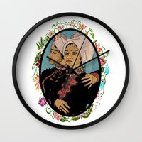 twins Wall Clocks featuring Twins by Nina Twin