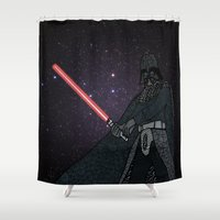 darth vader Shower Curtains featuring Darth Vader  by Rebecca Bear