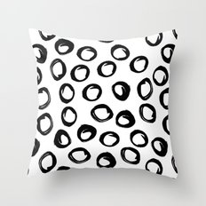 Kyrla - brushstrokes india ink black and white modern brooklyn art print college dorm student decor Throw Pillow