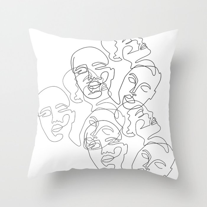 Lined Face Sketches Throw Pillow