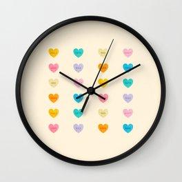 Cute Kawaii Candy Hearts Wall Clock