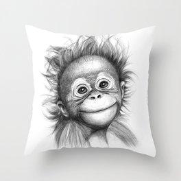 Monkey - Baby Orang outan 2016 G-121 Throw Pillow