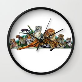 Big Cats Collage Wall Clock