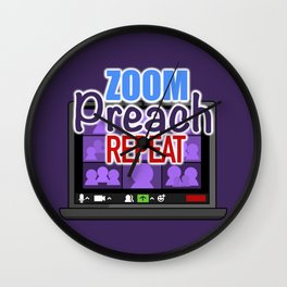 JW Zoom Preach Repeat Wall Clock