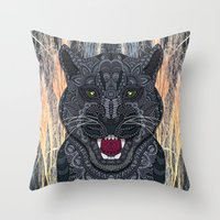panther Throw Pillows featuring Panther by ArtLovePassion