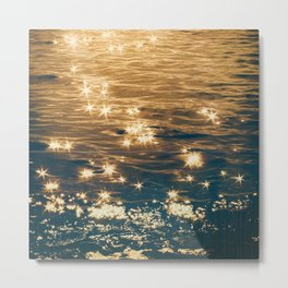 Sparkling Ocean in Gold and Navy Blue Metal Print