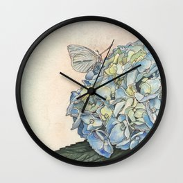 Hydrangea & Cabbage White Butterfly Wall Clock