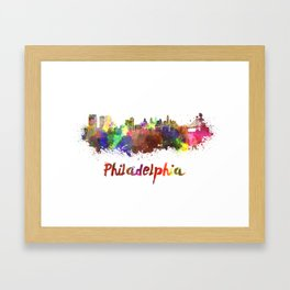 Philadelphia skyline in watercolor Framed Art Print