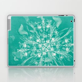 ghost bouquet and butterflies  on teal Laptop & iPad Skin