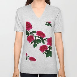 DIAGONAL ART DESIGN CLIMBING PINK ROSES  ON WHITE Unisex V-Neck