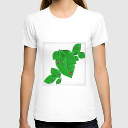 Green leaves with ladybirds and waterdrops T-shirt