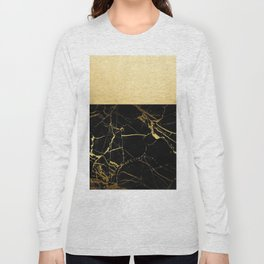 Gold and Black Marble Long Sleeve T-shirt