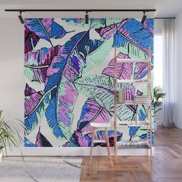 BANANA LEAF PALM PASTEL PINK AND BLUE Wall Mural