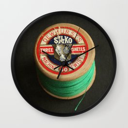 Green Vintage Cotton Reel Wall Clock
