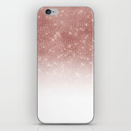 Girly Faux Rose Gold Sequin Glitter White Ombre iPhone Skin