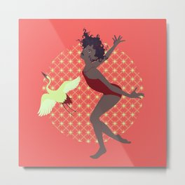 Dancer and Heron Metal Print