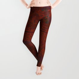 Caravans II:  Asian Print  Plum, gold, orange green origami textile floral design Leggings
