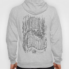 Vintage Merry Christmas Holiday Greeting (Black Text) Hoody