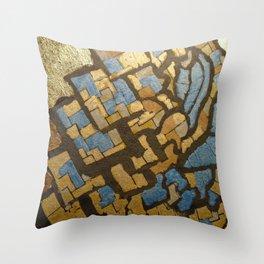 Gold cubic Eiffel tower close up Throw Pillow