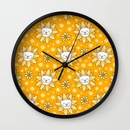 Sunflower Kittens Wall Clock