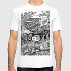 Two Worlds MEDIUM White Mens Fitted Tee