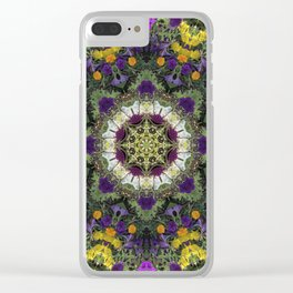 Summer Floral Jewels Kaleidoscope Clear iPhone Case
