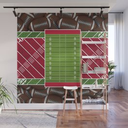 Red Football Field with Footballs Wall Mural