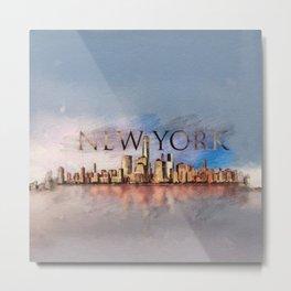 New York City Skyline - mixed media Metal Print