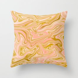Gold Caramel Pastel Pink Throw Pillow