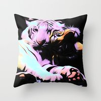 tigers Throw Pillows featuring tigers by Emmy Winstead