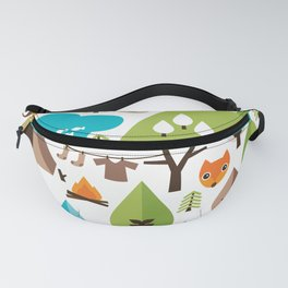 Wild camping trip with fox and wild animals illustration Fanny Pack