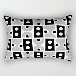 Funky Mid Century Modern Pattern 894 Gray and Black Rectangular Pillow