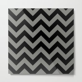 Black and Grey Chevron Stripes Metal Print