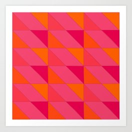 triangle shift - pink citrus  | flavour-based graphic pattern Art Print