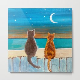 Cats on a Fence Metal Print