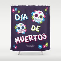 day of the dead Shower Curtains featuring Day of the Dead by Illustration by Julia