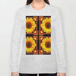 QUATRE WESTERN BLACK & RED ART DECO YELLOW SUNFLOWER Long Sleeve T-shirt