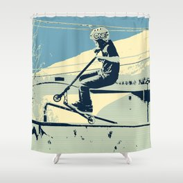 Getting Some Serious Air - Scooter Boy Shower Curtain