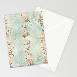seamless, pattern, with delicate roses and monograms, shabby chic, retro. Stationery Cards