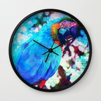 parrot Wall Clocks featuring Parrot by haroulita