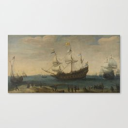 A number of East Indiamen off the Coast (The Mauritius and other East Indiamen Sailing out of the Ma Canvas Print