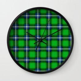 Scottish Tartan Blue and Green Wall Clock