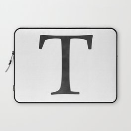 Letter T Initial Monogram Black and White Laptop Sleeve