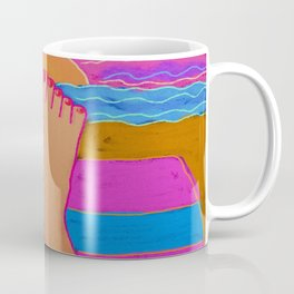 Red Nails in the Sunset Abstract Digital Painting  Coffee Mug
