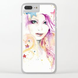 Galaxy Woman Clear iPhone Case
