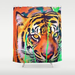 Watercolor Tiger Shower Curtain