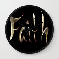 faith Wall Clocks featuring Faith by Tina Vaughn