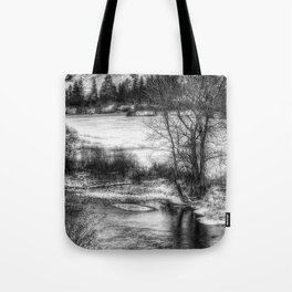 Down By The Waters Edge  - Black And White Tote Bag