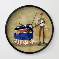 discworld Wall Clocks featuring A Docctor and his Luggage by Nana Leonti